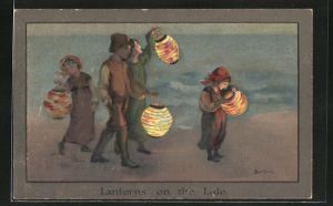 Künstler-AK S. Barham: Lanterns on the Lido, Laternenumzug