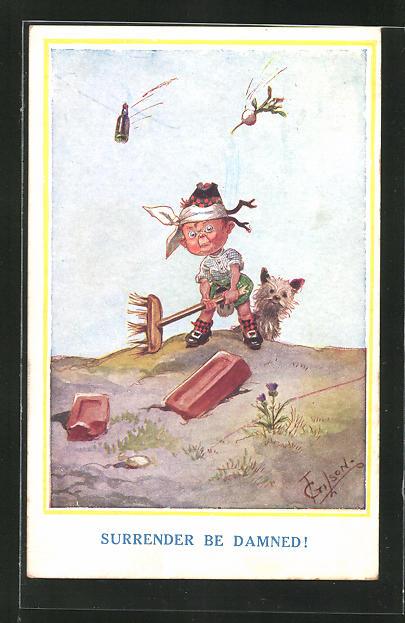 Künstler-AK T. Gilson: Surrender be Damned!, Scherz