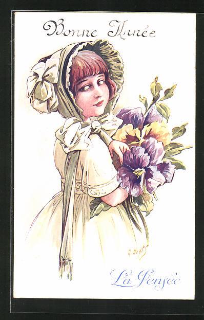Künstler-AK A. Wuyts: Bonne Année, La Pensée, Mädchen mit Blumen