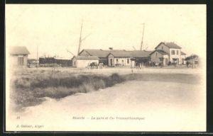 AK Bizerte, La gare et Cie Transatlantique, Bahnhof