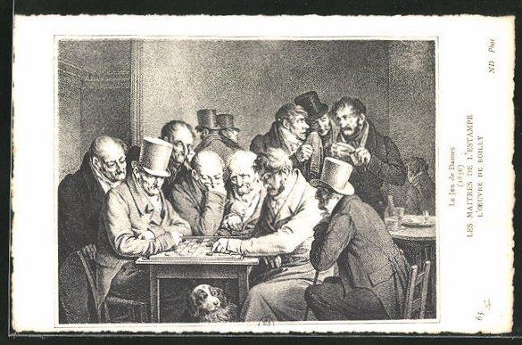 Künstler-AK Le Jeu de Dames, Männer spielen Dame, histor. Darstellung 0