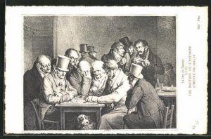 Künstler-AK Le Jeu de Dames, Männer spielen Dame, histor. Darstellung