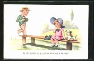 Künstler-AK sign. Jim Patt: Kleiner Kavalier mit Fotoapparat droht ins Wasser zu fallen