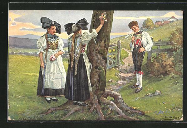 Künstler-AK Fritz Reiss: Bursche und zwei Mädchen in Schwarzwälder Tracht