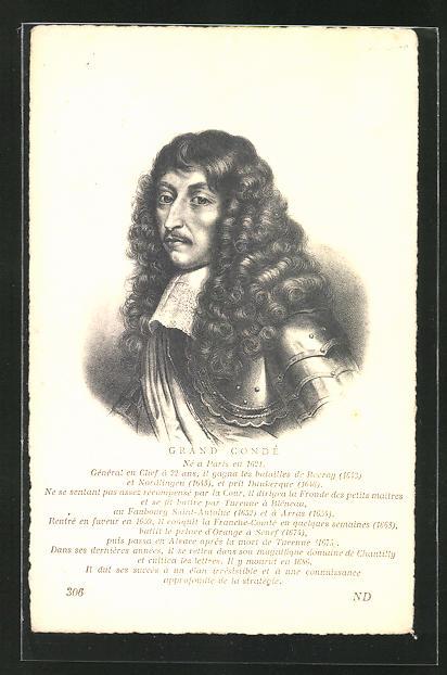 AK Portrait Grand Conde von Frankreich, 1621-1686