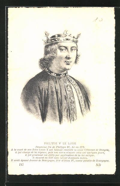AK Portrait Philippe V Le Long von Frankreich, 1293-1322