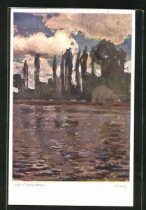 Künstler-AK sign. Jan Stanislawki: Topole, Landschaft am See