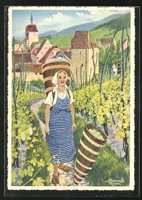 Künstler-AK Charles Homualk: Riquewhir, Vignobles de Traminer et de Riesling
