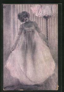 Künstler-AK Raphael Kirchner: La Chemise transparente, Frau im transparenten Kleid