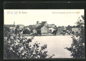 AK Deutsch Eylau / Ilawa, Blick über den Geserichsee auf die Stadt