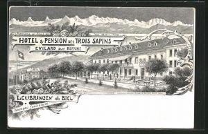 Lithographie Leubringen / ob Biel, Hotel & Pension des Trois Sapins