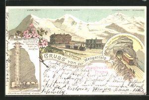 Lithographie Wengernalp, Blick auf Elevator, Wendelaufgang, Restaurant im Gipfel der Jungfrau, Tunnel