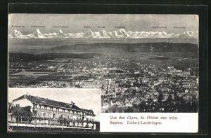 AK Evilard-Leubringen, Vue des Alpes, de l`Hotel des trois Sapins