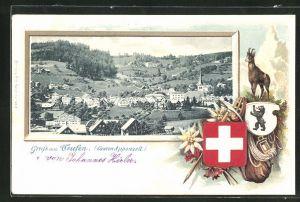 Passepartout-Lithographie Teufen, Blick auf den Ort, Gemse und Schweizer Wappen