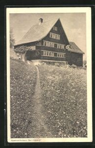 AK Heiden, Appenzellerhaus mit Blumenwiese