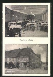 AK Seeburg, Hotel Neubauer, Innen- und Aussenansicht