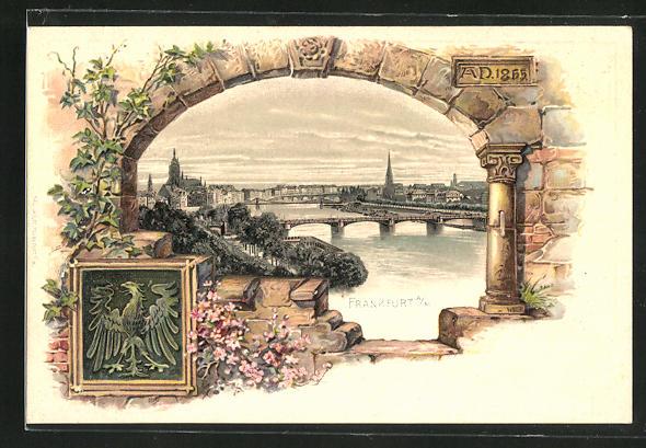 Passepartout-Lithographie Frankfurt, Stadtkern mit Brücken über den Main, Wappen