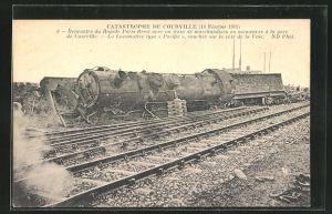 AK Courville, Catastrophe 1911, Rencontre du Rapide Paris-Brest avenc un train de marchandises