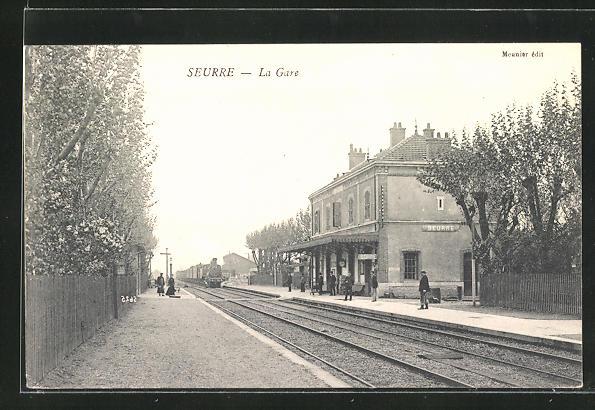 AK Seurre, La Gare, Bahnsteig am Bahnhof