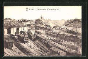 AK Dijon, Vue panoramique de la Gare Dijon-Ville, Bahnhof aus der Vogelschau