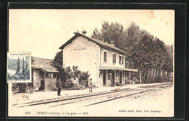AK Surgy, La Gare, Bahnsteig am Bahnhof