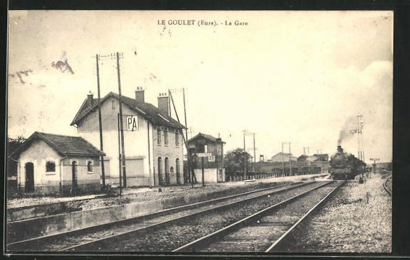 AK Le Goulet, La Gare, Bahnsteig am Bahnhof