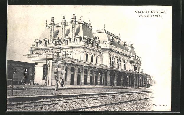 AK St-Omer, La Gare, Vue du Quai, Bahnhof mit Bahnsteig