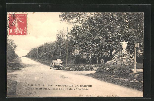 AK St-Calais, Circuit de la Sarteh 1906, La demi-lune, Route de St-Calais a la Ferte