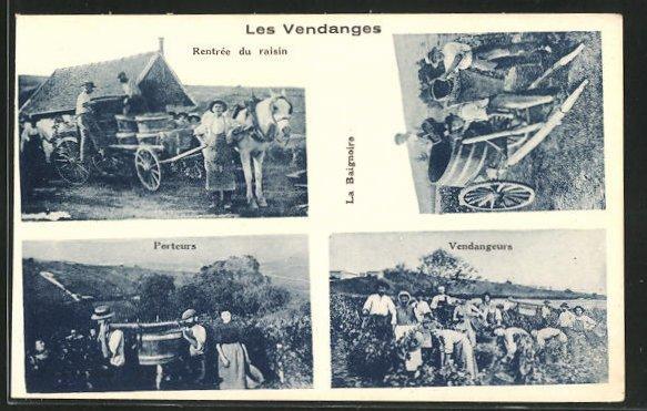 AK Les Vendanges, Rentree du raisin, Porteurs & la Baignoire, Weinanbau