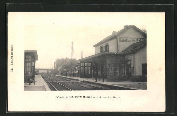 AK Longueil-Sainte-Marie, La Gare, Bahnhof mit Bahnsteig