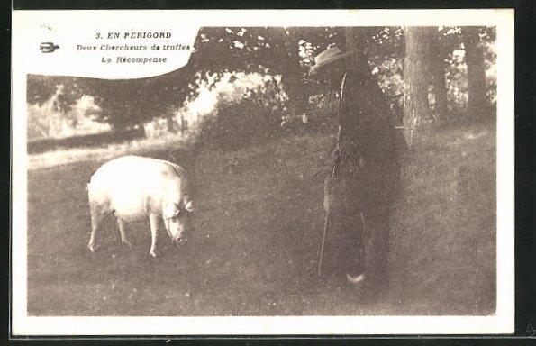 AK En Périgord, Deux Chercheurs de Truffes, La Récompense, Trüffelschwein