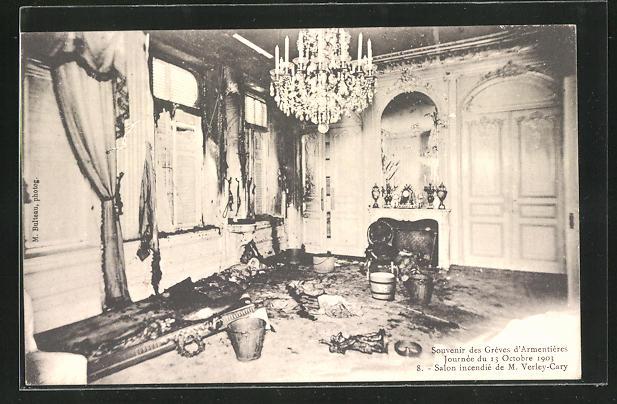 AK Frankreich, Greves d`Armentieres 1903, Salon incendie de M. Verley-Cary, Innenansicht
