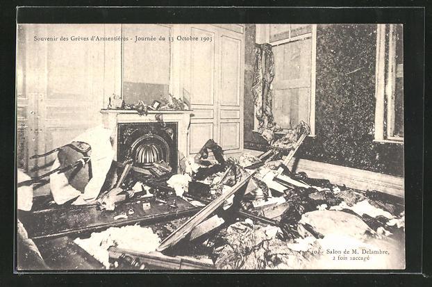 AK Frankreich, Greves d`Armentieres 1903, Salon de M. Delambre, Innenansicht 0
