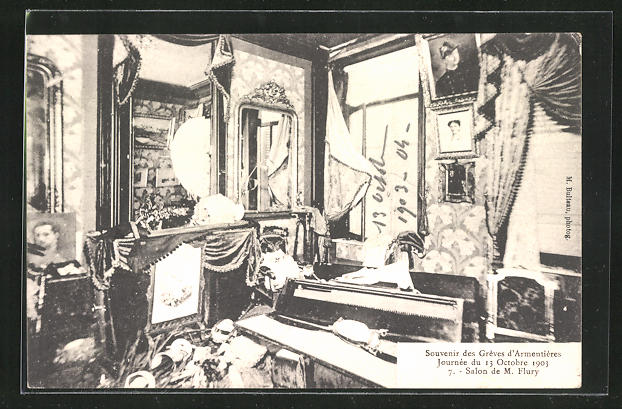 AK Frankreich, Greves d`Armentieres 1903, Salon de M. Flury, Innenansicht
