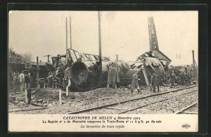 AK Melun, Catastrophe 4 Novembre 1913, La locomotive du train rapide