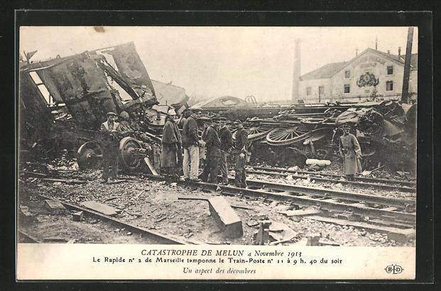 AK Melun, Catastrophe 4 Novembre 1913, Un aspect des decombres 0