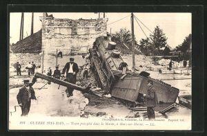 AK Mary-sur-Marne, Guerre 1914-1915, Train precipite dans la Marne