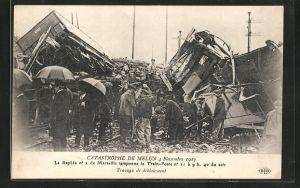 AK Melun, Catastrophe 4 Novembre 1913, Travaux de deblaiement