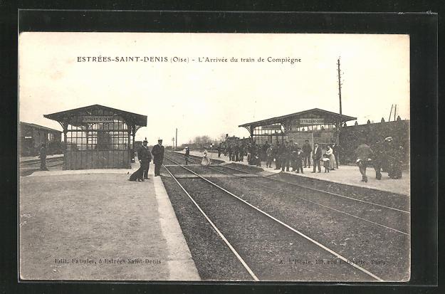 AK Estree-Saint-Denis, L`Arrivee du train de Compiegne 0