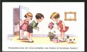 Künstler-AK sign. Jim Palt, Mädchen kommt mit Blumen, Kleeblatt, Hufeisen zu Besuch bei Junge und Mädchen