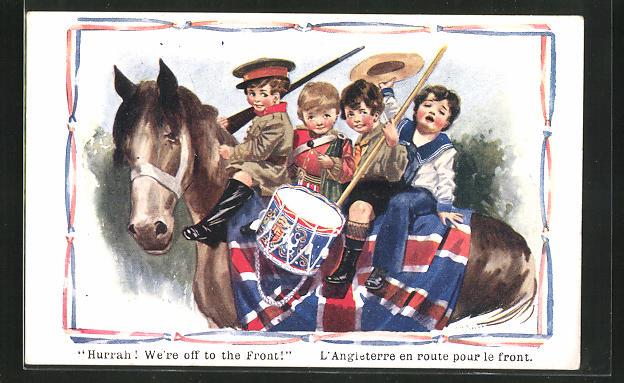 Künstler-AK sign. A. A. Nash, Kinder in Uniform auf Pferd, Hurra! We`re off to the Front