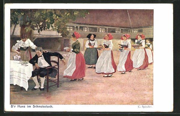 Künstler-AK sign. C. Spindler, D`r Hans im Schnokelloch, Mann am Tisch bekommt Essen