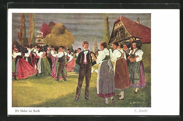 Künstler-AK sign. C. Spindler, D`r Hahn im Korb, tanzende Paare