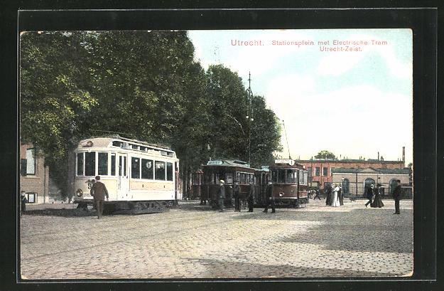 AK Utrecht, Stationsplein met Electrische Tram Utrecht-Zeist, Strassenbahn 0