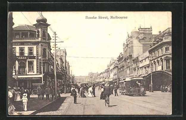 AK Melbourne, Bourke Street mit Strassenbahn