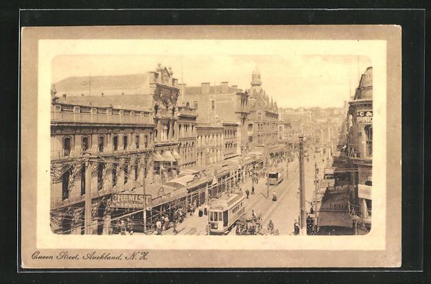 AK Auckland, Queen Street mit Strassenbahn 0