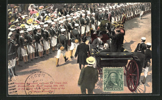 AK Provincetown, MA, President Roosevelt August 30th 1907, Corner Stone of the Pilgrim Monument