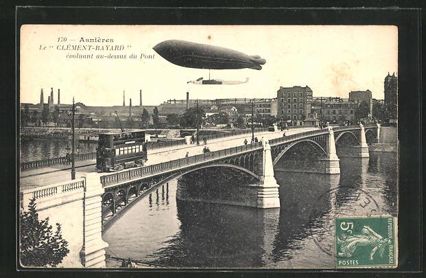 AK Asnieres, Le Celemnt-Bayard evoluant au-dessus du Pont, Zeppelin & Strassenbahn 0
