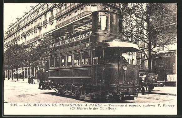 AK Paris, Les Moyens de Transport, Tramway a vapeur, Strassenbahn 0