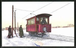 AK St. Petersbourg, Chemin elektrique sur la Neva, Strassenbahn im Winter